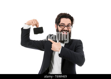 smiling bearded businessman holding an mini briefcase, man pointing at briefcase, isolated on white background, small business concept - Stock Photo