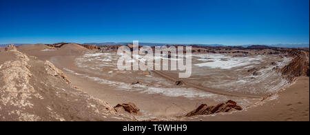 Moon valley with amphitheater and big dune - Stock Photo