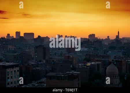 Cairo city Egypt with sunset sky - Stock Photo