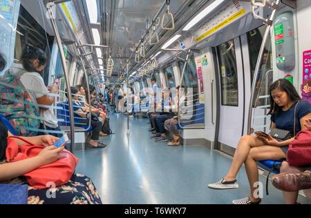 Subway carriage on the Singapore MRT - Stock Photo