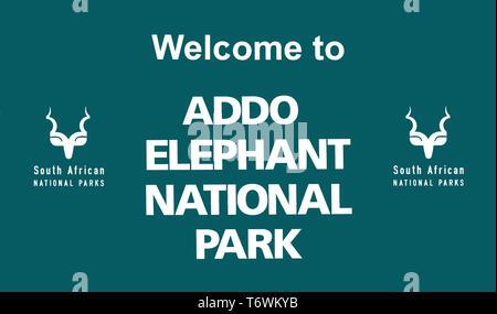 Entrance sign to Addo Elephant National Park, Port Elizabeth, Eastern Cape, South Africa - Stock Photo