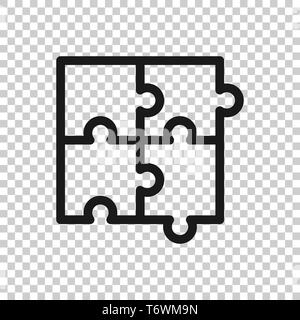 Puzzle compatible icon in transparent style. Jigsaw agreement vector illustration on isolated background. Cooperation solution business concept. - Stock Photo