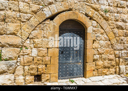 This is a capture of the old roads in Der El Kamar a village Located in Lebanon and you can see in the picture the old walk made of stones with an his - Stock Photo