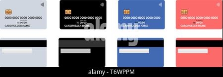 Bank plastic credit or debit contactless smart charge card front and back sides with EMV chip and magnetic stripe. Blank design template mockup. Vecto - Stock Photo