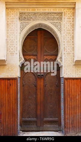 Decorated door in medina of Fez - Stock Photo