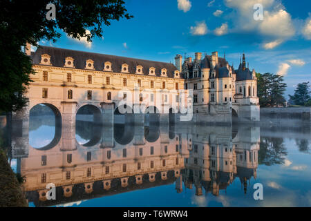First light of morning on Chateau Chenonceau, Indre-et-Loire, Centre, France - Stock Photo