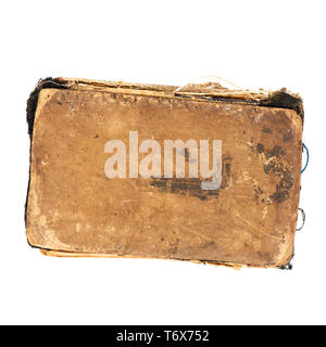 Worn old book, top view. Object isolated on white background with clipping path - Stock Photo