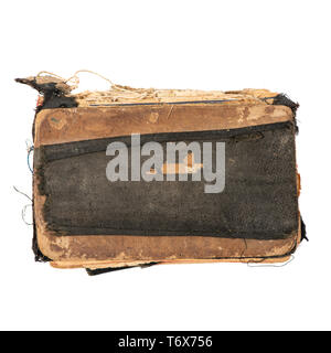 Ancient prayer book, top view. Object isolated on white background with clipping path - Stock Photo