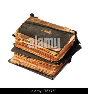 Two ancient prayer books, angle wise. Objects isolated on white background with clipping path - Stock Photo