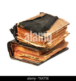 Two aged book books isolated on white background with clipping path, an angle - Stock Photo