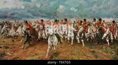 Scotland Forever! 1881. By Elizabeth Southerden Thompson, Lady Butler (1846–1933). This painting depicts the start of the charge of the Royal Scots Greys, a British cavalry regiment, that charged alongside the British heavy cavalry at the Battle of Waterloo in 1815. - Stock Photo