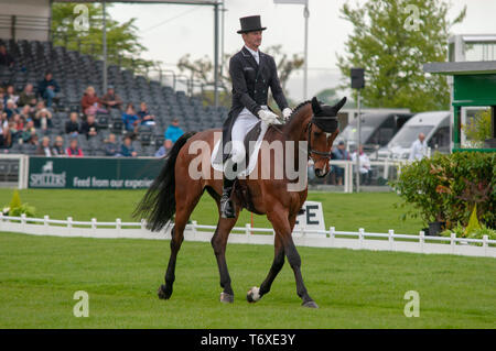 Badminton, Gloucestershire, United Kingdom, 2nd May 2019, Mark Todd riding NZB Campino during the Dressage Phase of the 2019 Mitsubishi Motors Badminton Horse Trials, Credit:Jonathan Clarke/Alamy Live News - Stock Photo