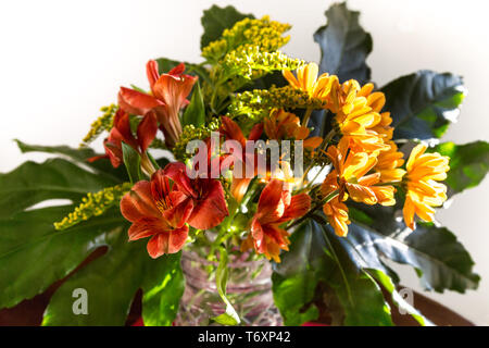 Bouquet of yellow, red and orange flowers - Stock Photo
