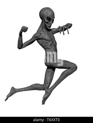 grey alien exploring arround. This alien will put some fun in yours creations - Stock Photo