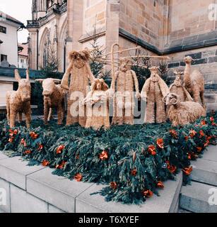 Traditional christmas straw nativity scene - Stock Photo