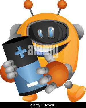 Robot holding the battery illustration vector on white background - Stock Photo
