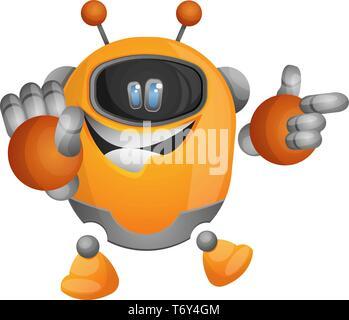 Cute orange robot pointing at something illustration vector on white background - Stock Photo