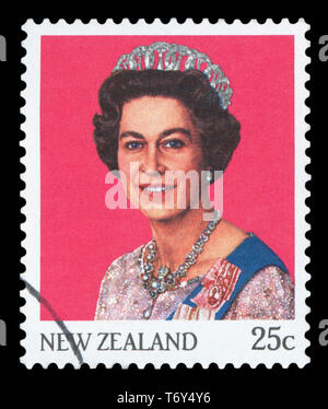 NEW ZEALAND - CIRCA 1985: A stamp printed in New Zealand shows Queen Elizabeth II from photo by Camera Press, circa 1985. - Stock Photo