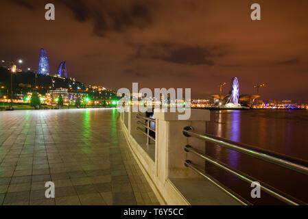 Modern Baku on a December night. Azerbaijan - Stock Photo