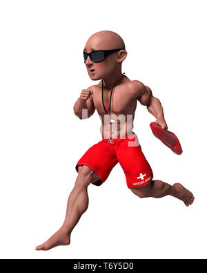 this funny life guard cartoon will put some fun in yours creations - Stock Photo