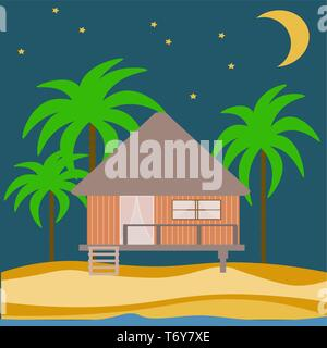 vector abstract house of a wooden bungalow on the beach in the sand with palm trees with a month and stars in the night. architecture landscape - Stock Photo