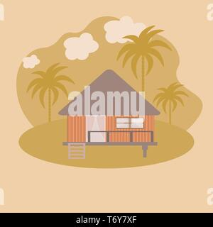 vector abstract house of a wooden bungalow on the seashore in the sand with palm trees. architecture landscape on yellow background - Stock Photo
