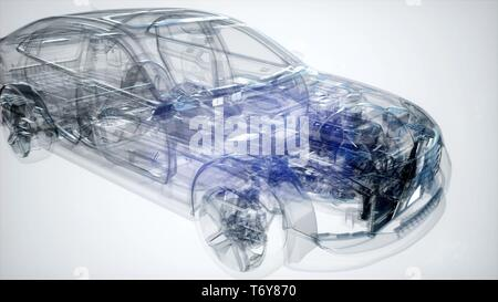 Holographic animation of 3D wireframe car model - Stock Photo