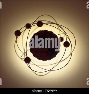 3D illustration. Nuclear power, nuclear reaction or nuclear energy, generating heat in a concept image of a nuclear atomic model. - Stock Photo
