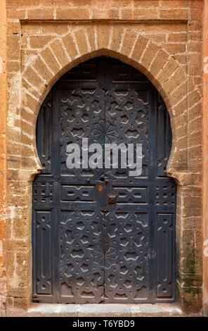 Decorated door in medina of Rabat - Stock Photo