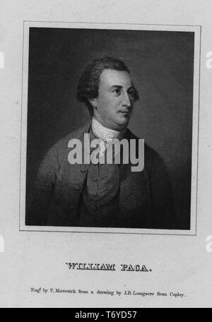 Engraved portrait of William Paca, signer of the United States Declaration of Independence and Governor of Maryland, 1827. From the New York Public Library. () - Stock Photo