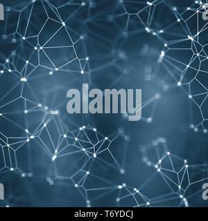 plexus blue lights background - Stock Photo