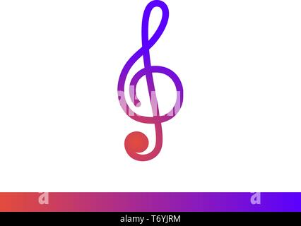 Treble clef musical key vector gradient icon. Isolated on white background - Stock Photo