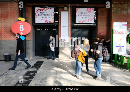 Berlin, Germany - May 3, 2018: Entrance of the Media Convention Berlin Stage 6 which takes place as part of of the re: publica with participants. re:p - Stock Photo