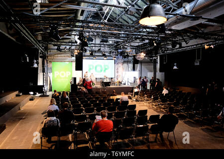 Berlin, Germany - May 3, 2018: View on a lightly frequented conference hall of the of re:publica 2018 with visitors. re:publica is a conference about  - Stock Photo