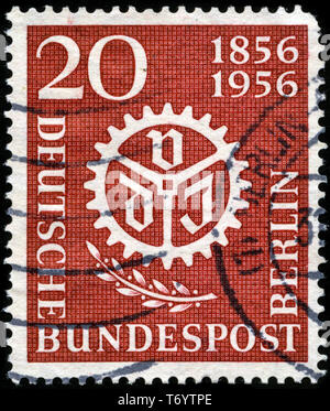 Postage stamp from the Federal Republic of Germany in the 100 years Association of German Engineers (VDI) series issued in 1956