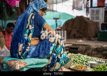 woman in sari india - Stock Photo