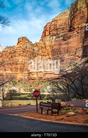 Zion National Park, UT, USA - March 18, 2018: The Weeping Rock Trailhead - Stock Photo