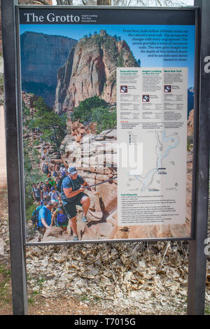 Zion National Park, UT, USA - March 18, 2018: A loop going to The Grotto - Stock Photo