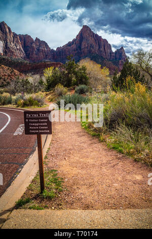 Zion National Park, UT, USA - March 18, 2018: The Pa'rus Trail sign - Stock Photo