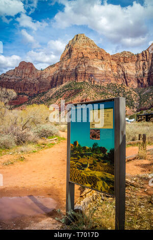 Zion National Park, UT, USA - March 18, 2018: The Watchman Trail sign - Stock Photo