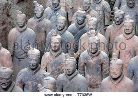 Terracotta Army, collection of terracotta sculptures depicting the armies of Qin Shi Huang, first Emperor of China, Xi'an, province Shaanxi, China - Stock Photo