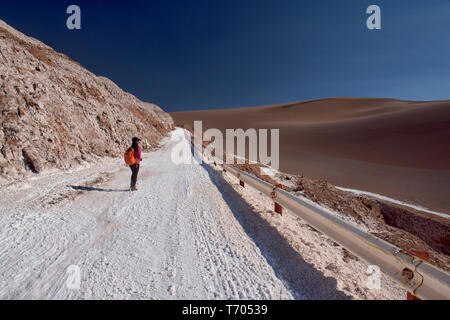 Salt and sand, desert landscape in the Moon Valley, San Pedro de Atacama, Chile - Stock Photo
