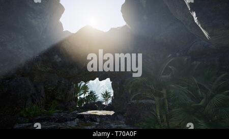 Sunlight through the chimney cave in Thailand. - Stock Photo