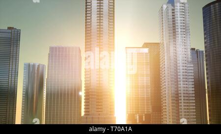 Business skyscrapers at sunset reflected in windows, Bangkok - Stock Photo