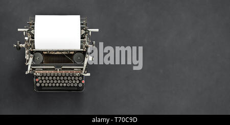 Vintage typewriter with blank sheet of paper retro technology - Stock Photo