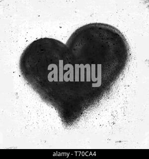 Black heart on concrete wall - Stock Photo