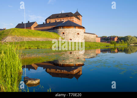 The old fortress-prison of Hame on the shore of Vanajavesi  lake on a sunny July morning. Hameenlinna, Finland - Stock Photo