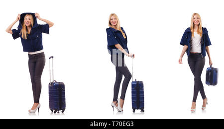 Beautiful woman with suitcase in vacation concept - Stock Photo