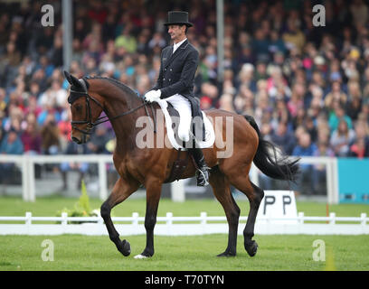 New Zealand's Sir Mark Todd on NZB Campino competes in the dressage during day three of the 2019 Mitsubishi Motors Badminton Horse Trials at The Badminton Estate, Gloucestershire. - Stock Photo