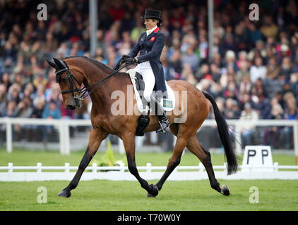 Great Britain's Sarah Bullimore on Reve Du Rouet competes in the dressage during day three of the 2019 Mitsubishi Motors Badminton Horse Trials at The Badminton Estate, Gloucestershire. - Stock Photo
